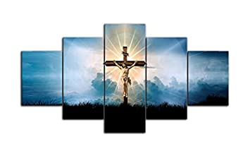 AMEMNY 5 Piece Cross Christian Canvas Jesus Crucified in Navy Blue Sky Pictures Paintings Modern Artwork Contemporary Wall Art Living Room Home Decor Posters and Prints Framed Ready to Hang
