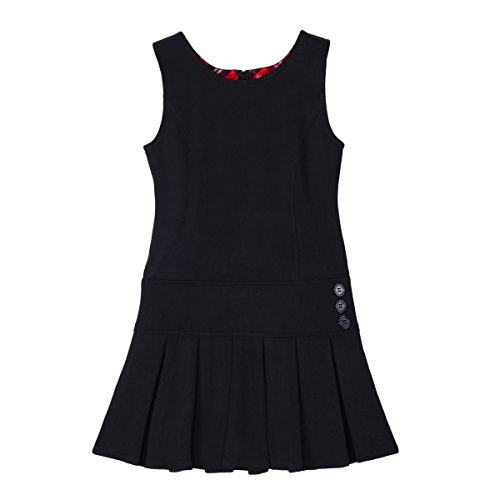 Bienzoe Girl's Stretchy Pleated Hem School Uniforms Jumper Black ()