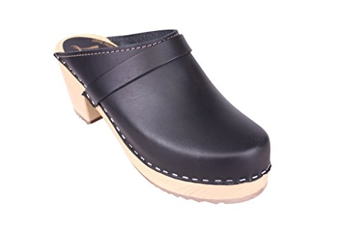 (Lotta From Stockholm Torpatoffeln Swedish Clogs : High Heeled Clog in Black Leather US M 9.5 / EUR 41)