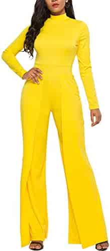 bbf0db7d2fe1 Ophestin Womens Long Sleeve Round Neck Jumpsuit for Work Wide Leg Pants  Rompers White