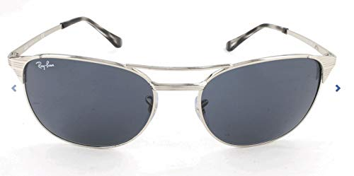 Ray-Ban Men's Metal Man Square Sunglasses, Shiny Silver, 58 mm