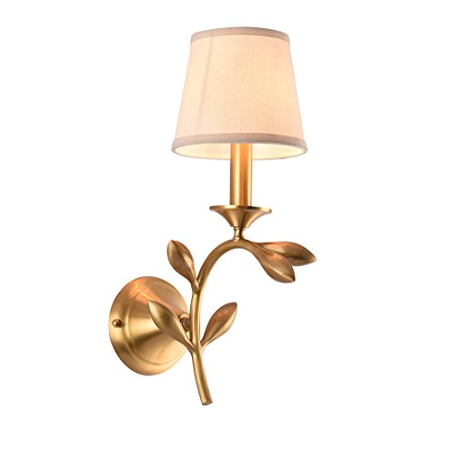 NOXARTE Brass Material Flower Body Wall Mounted Light Industrial Vintage Style Fabric Lampshade Brass Wall Sconce Wall Lamp Lighting Fixture for Bedroom Hallway Living Room
