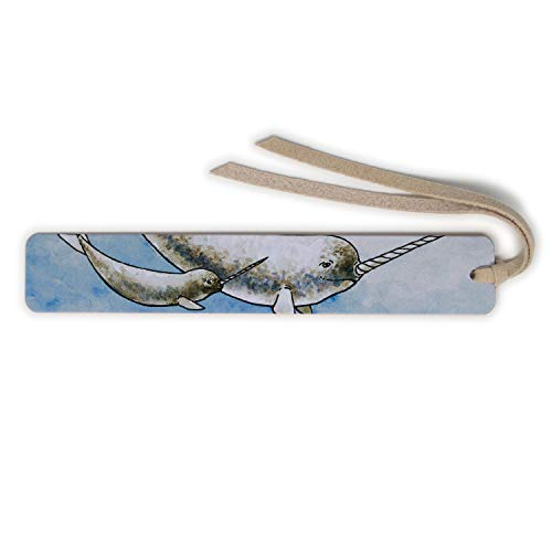 Narwhal Whales - Art by Christi Sobel on Solid Cherry Wooden Bookmark with Tassel