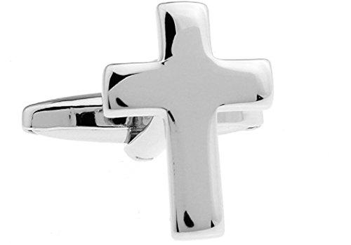 MRCUFF Cross Christian Pair Cufflinks in a Presentation Gift Box & Polishing -