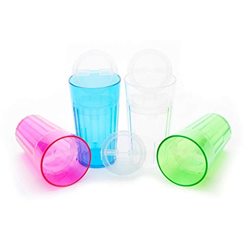 Reflo Smart Cup with Open Rim Flow Control, Training Cup for Kids 6 Month and up - 4 Pack (Green, Blue, Clear, Red-Violet) by Reflo