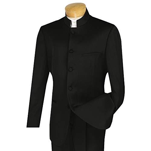 VINCI Men's 5 Button Mandarin Banded Collar Classic-Fit Tuxedo Suit Black | Size: 38 Regular / 32 Waist