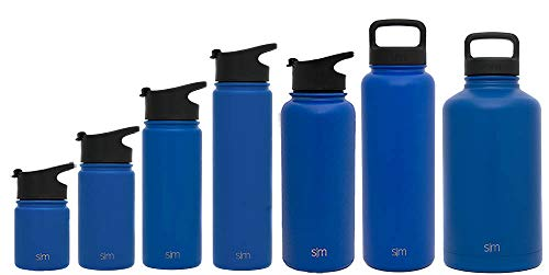 (Simple Modern 22 oz Summit Water Bottle - Stainless Steel Hydro Metal Flask +2 Lids - Wide Mouth Double Wall Vacuum Insulated Blue Large 2 Liter Half Gallon Cold Leakproof Thermos - Twilight)