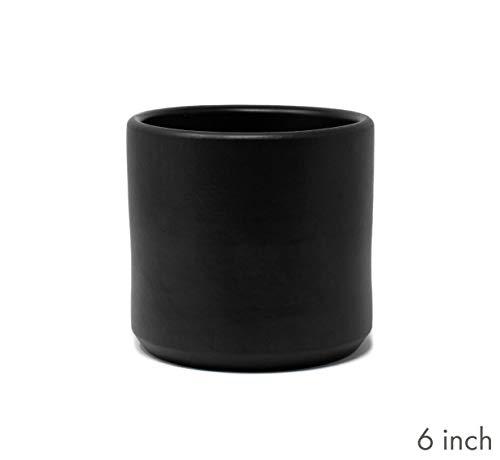 Terracotta Clay Cylinder Planter (6 Inch, Matte Black)