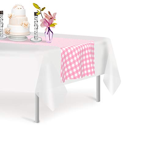 Pink Checkered Gingham 6 Pack Premium Disposable Plastic Table Runner 14 x 108 Inch. Decorative Table Runner for Dinner Parties & Events, Decor By Grandipity ()