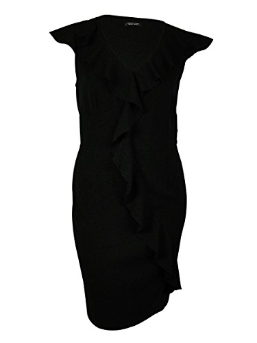 Spense Women's Plus Size Cap Sleeve Cascading Ruffle Dress 16w Black Gab