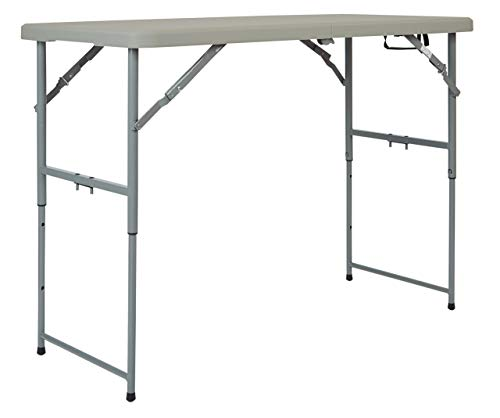 Adjustable Height Resin - Office Star Resin Multipurpose Rectangle Table, 4-Feet Long, Height Adjustable, Center Folding Table (Renewed)