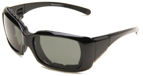 Bobster Ava Convertible Polarized Rectangular Sunglasses,Black Frame/Smoked Lens,One Size ()