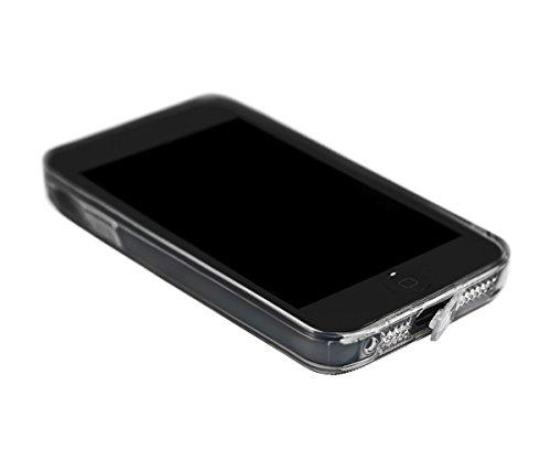 Lilware Stylized Heart Imprint Funda Carcasa Flexible de Gel TPU Para Apple iPhone SE / 5S / 5. Textura Personalizada de Corazones Rosados y Lneas de Estilo Retro. La Correa de Transporte Incluido. Ro Hojas de Estilo Retro