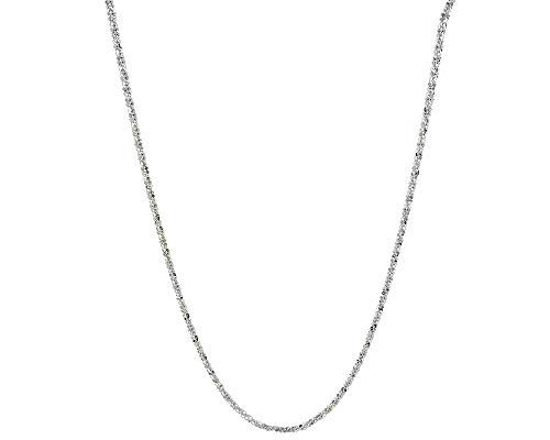 Verona Jewelers Sterling Silver Diamond Cut 2MM Sparkle Chain Necklace Criss Cross Necklace- Shiny Necklace Sparkling Chain Sterling Silver Necklace ()