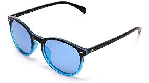SAMBA SHADES Polarized Round Verona Horned Rim Sunglasses with Black and Transparent Blue Frame, Mirrored - Samba Shoe 80