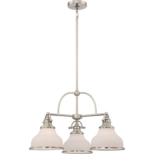 Quoizel GRT5103BN Grant Downlight Chandelier, 3-Light, 300 Watts, Brushed Nickel 16 H x 24 W