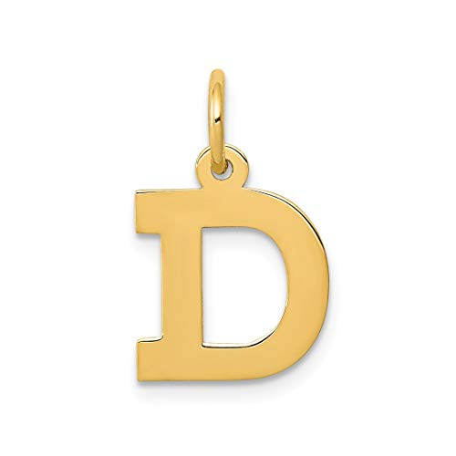 14k Yellow Gold Small Block Initial Monogram Name Letter D Pendant Charm Necklace Fine Jewelry For Women Gift Set