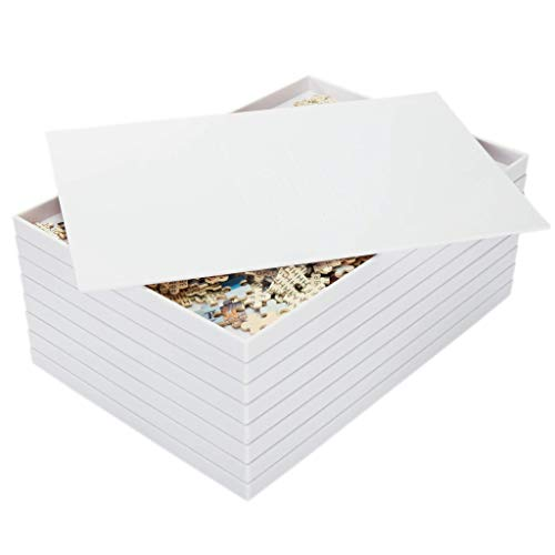 Grateful House Puzzle Sorting Trays with Lid. 8 Large Stackable Trays for up to 2000 Piece Puzzles.14 X 10in.White