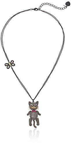 Betsey Johnson Halloween Pave Cat Pendant Necklace (Betsey Johnson Tie)