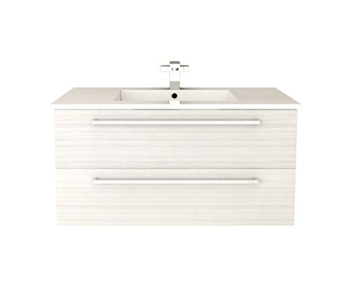 Cutler Kitchen & Bath FV W/CHOCOLATE36 Silhouette 36 in. Wall Hung Bathroom Vanity, White ()