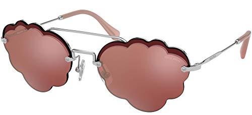 Miu Miu Women's 0MU 57US Silver/Pink Silver Mirror One Size (Miu Sunglasses Miu)