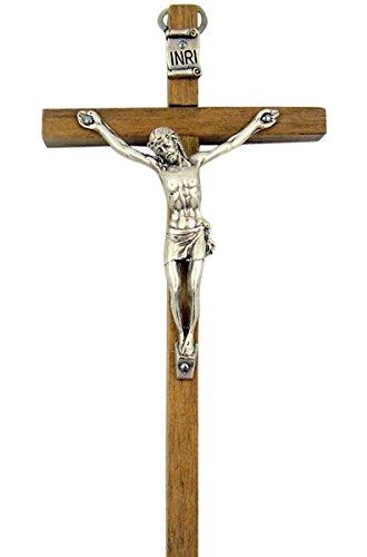 Brown Wooden Cross with Silver Toned Christ Corpus Crucifix Pendant, 4 3/4 Inch - Jesus Christ Corpus Cross