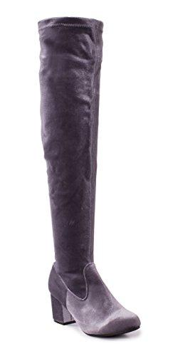 Charles Albert Women's Thigh High Over-The-Knee Chunky Heel Velvet Boots in Grey Size: 8 (Velvet Thigh High Boots)