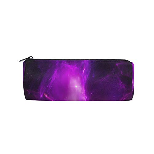 Weave Linen Wallpaper - Pencil Case Purple Dreamy Fog Wallpaper Zippered Pencil Box Round Stationery Bag Makeup Cosmetic Bag for Students/Women