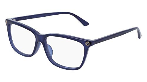 6a0b8ab5ca Gucci GG 0042OA 004 Asian Fit Blue Plastic Cat-Eye Eyeglasses 55mm