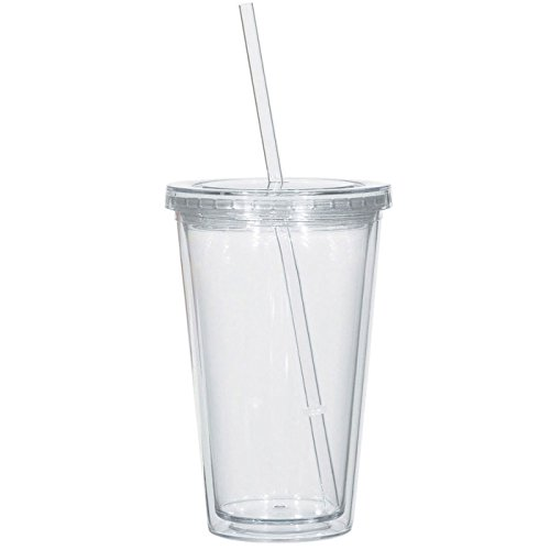 Bulk Lot of 96 Clear Double Wall Insulated Acrylic Tumblers w/ Straw and Lid by Qraft Drinkware