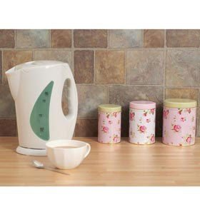 Pink rose design tea coffee sugar canisters kitchen home - Pink tea and coffee canisters ...