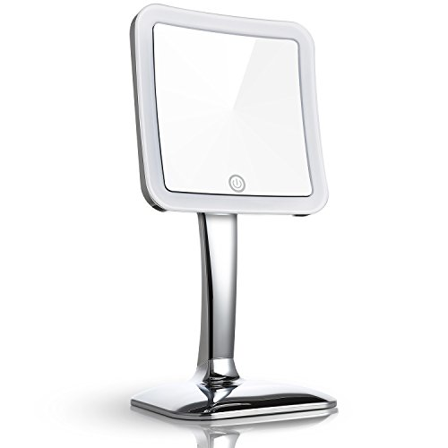 Miusco 7X Magnifying LED Lighted Makeup Mirror, Touch Activated, Cordless, Square