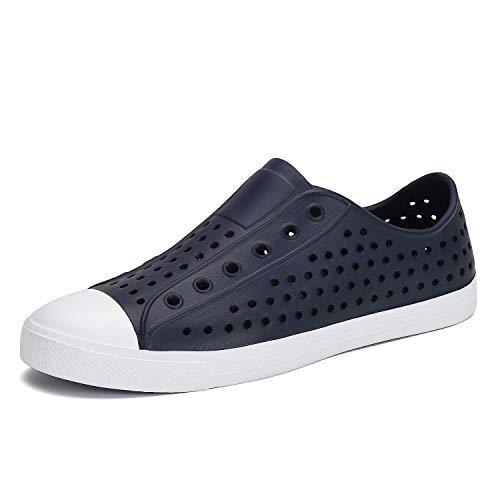 (SAGUARO Mens Womens Sneaker Breathable Slip On Lightweight Garden Clogs Outdoor Beach Water Shoes Dark Blue 7 M US Women / 6 M US Men)
