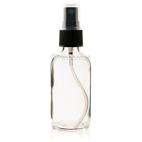 2 Oz (60 ml) CLEAR Boston Round Glass Bottle w/Black Fine Mist Sprayer- 12 pcs ()