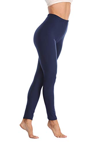 VOGUEMAX Womens Ankle Length Leggings Buttery Soft High Waisted Stretch Basic Solid Full Length Leggings Pants Navy