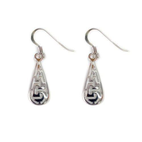(Sterling Silver Ancient Greek Key Drop Earrings)
