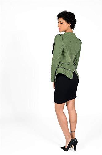 Tachonado Slim Abrigo Cremallera Sijux Formando Moda Motocicleta Perfectamente Con De Chaqueta Solapa Green Mujer Fn6xfn