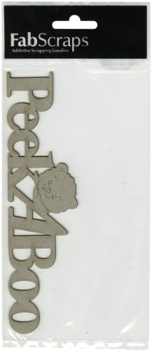 Die-Cut Grey Chipboard Word-Peek-A-Boo 1.75