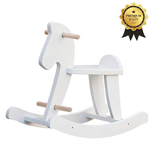 labebe - Wooden Rocking Horse, Baby Wood Ride On Toys for 1-3 Year Old, White Rocker Toy for Kid, Toddler Ride Animal Indoor/Outdoor, Boy&Girl Rocking Animal, Infant Ride Toy, Christmas/Birthday ()