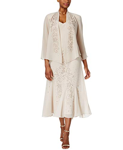 (R&M Richards Women's Beaded Jacket Dress - Mother of The Bride Dresses (Champagne, 18))