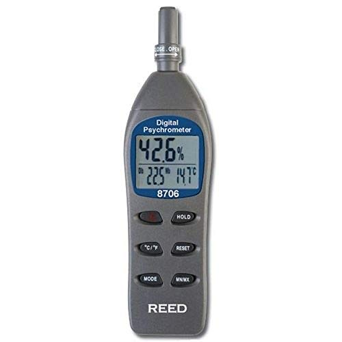Digital Thermo Hygrometer - REED Instruments 8706 Digital Psychrometer/Thermo-Hygrometer, (Wet Bulb, Dew Point, Temperature, Humidity)