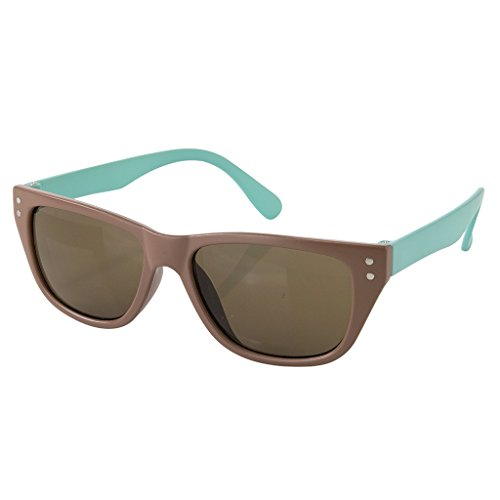 - Time Concept Children/Toddlers Fashion Sunglasses - Square, Brown/Blue - UV-Protected Summer Eyewear, Kids 4-14 Years
