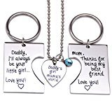 O.RIYA Daddy's Girl Mommy's World 3 Piece Keychain Pendant Necklace Set, Gift for Daughter, Mommys Little Girl, Mums Dad Necklaces Stainless Steel
