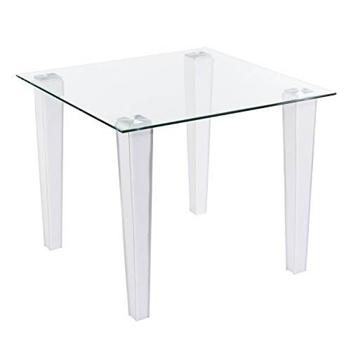 - Square Dining Table w/Glass Top and Faux Leather Legs - White - 35