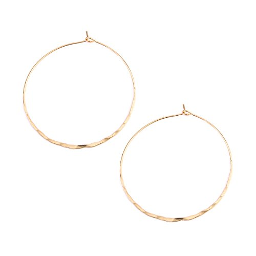 (Riah Fashion Women's Twisted Hammered Hoop Earrings (Medium - Gold))