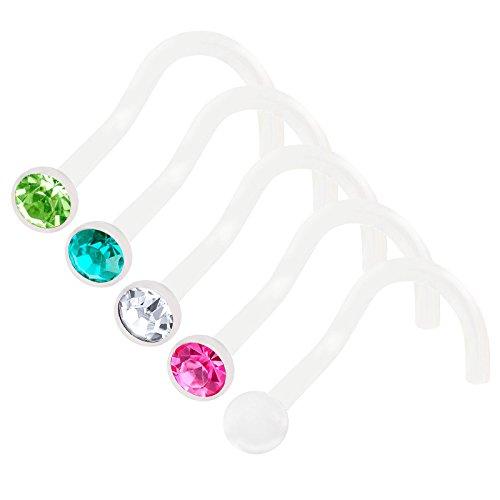 bodyjewellery 5Pcs 20g 0.8mm Nose Screw Rings Bioflex Flexible Corkscrew Nostril Piercing Jewelry 2.5mm Crystal - CL RO BZ ()