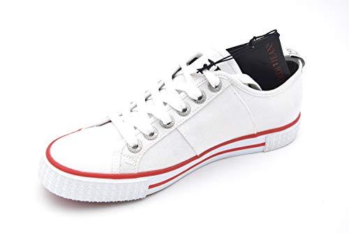 A Trussardi Basso Uomo Jeans Bianco Sneaker White Collo Vulcanized wx4xqF