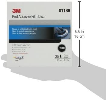 3M Red Abrasive Hookit Film Disc 6 inch 1186-25 Discs//Box P1000 grit 01186