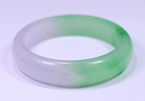 JADE168 Women Nature Grade Green Lavender Jadeite Jade Gems Bracelet Bangle Size 63mm