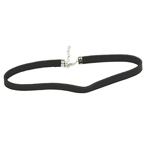 apop nyc Black Simulated Leather Choker Necklace 13-15 inch with 925 Sterling Clasp [Jewelry]